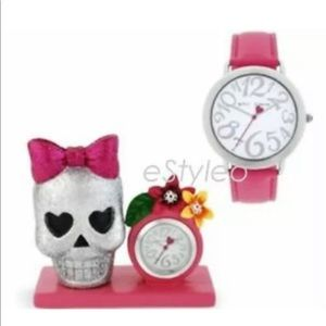 Betsey Johnson Watch and Skull Time Display Set